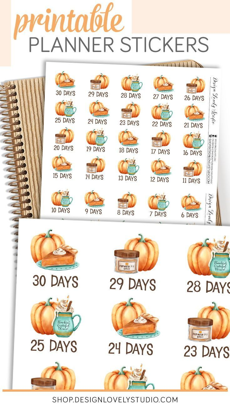 Printable Thanksgiving Countdown Stickers Thanksgiving Etsy In 2020 Printable Planner Stickers Thanksgiving Countdown Thanksgiving Planner