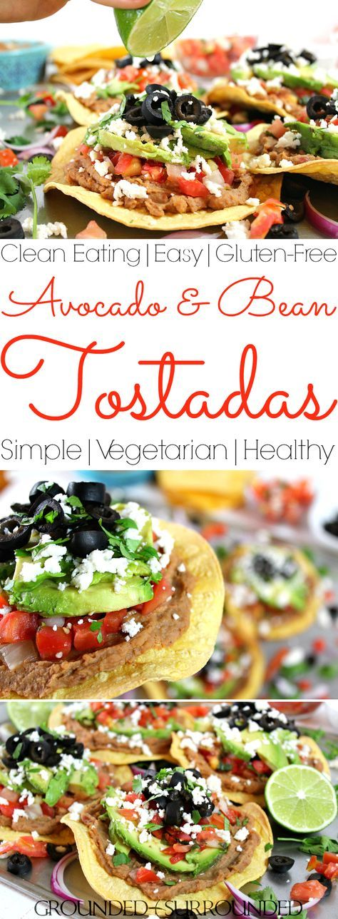 The BEST Vegetarian Tostadas | These healthy tostadas packed with whole food ingredients like avocado, pico de gallo, refried beans and Mexican cheese are the perfect Meatless Monday meal option. Dinners at your house will hit EPIC with this easy recipe. Baked corn tortillas stacked high with gluten-free toppings, healthy fats, and a meat-free protein. Make this vegan by omitting the cheese...just add more olives! 21 Day Fix & Weight Watchers Friendly Recipe
