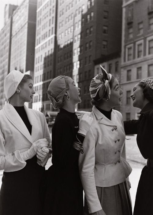 Models in New York photographed by Gordon Parks for LIFE magazine, 1952 (Suzy Parker far left).