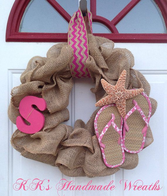 Monogram Burlap Flip Flop Wreath Pink on Etsy, $35.00