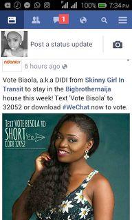 Welcome to FavysWorld: Big Brother Naija 2017;Vote Bisola...