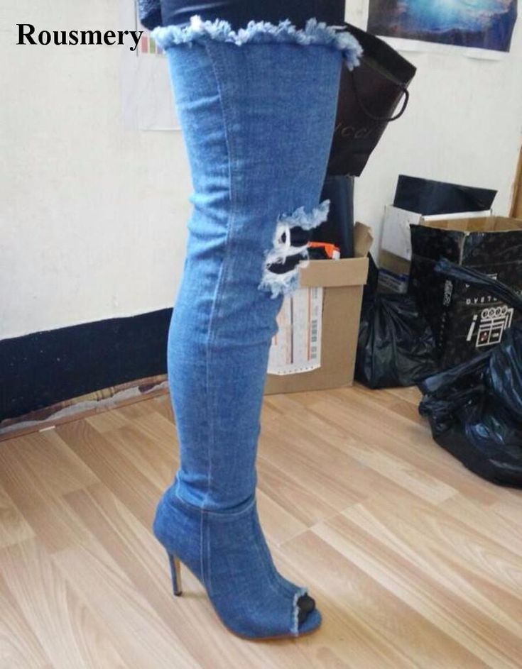 New Popular Women Fashion Open Toe Over Knee Denim Gladiator Boots Cut-out Slim Jean Long High Heel Boots Sexy Boots