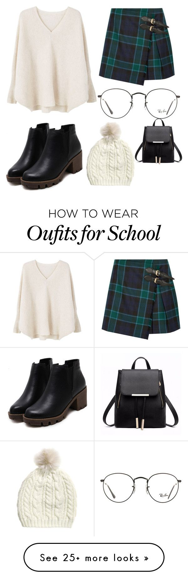 """school girl"" by enorris-en on Polyvore featuring Burberry, MANGO and Ray-Ban"