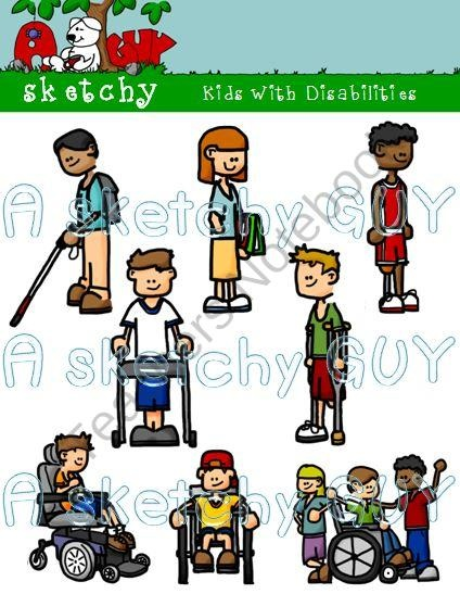 Kids with Disabilities Clipart / Graphic 300dpi Color Grayscale Black Lined from Sketchy Guy on TeachersNotebook.com (24 pages)  - Kids with Disability / Disabilities Clipart / Graphics  Included are 8 Color, 8 Grayscale, and 6 Black Lined, PNG/Transparent Clipart.  22 Items Total.  Each item has a transparent background.   High quality 300dpi.