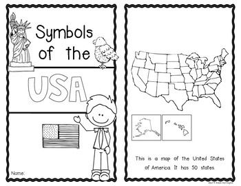 Symbols of the USA {Emergent Reader} for Kindergarten and First Grade. 10 pages/blackline only. $