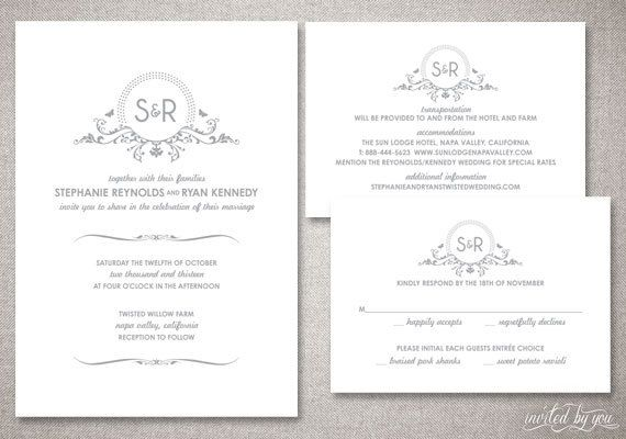 "Monogram ""Stephanie"" Wedding Invitations Suite - Beautiful Floral Modern Invite - Personalized DIY Digital Printable or Printed Invitation. $75.00, via Etsy."