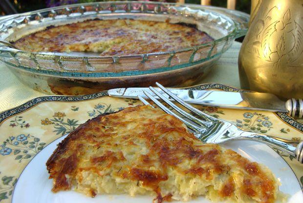 Kabak kalavasucho (zucchini pie) for Passover.