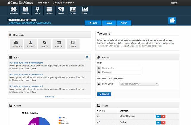 Responsive Clean Dashboard Bootstrap UI Theme