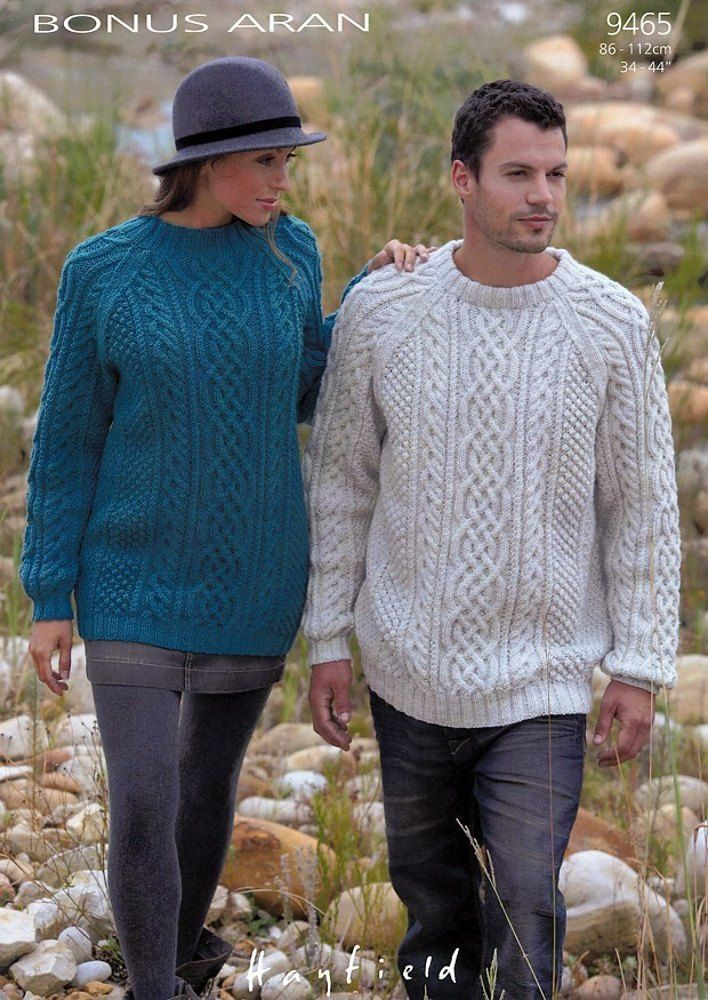 Sweaters in Hayfield Bonus Aran - 9465. Discover more Patterns by Hayfield at LoveKnitting. The world's largest range of knitting supplies - we stock patterns, yarn, needles and books from all of your favorite brands.