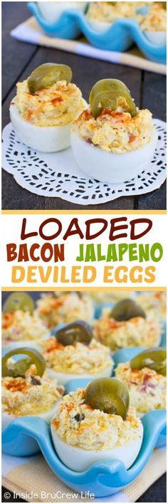 Loaded Bacon Jalapeno Deviled Eggs - adding cheese, bacon, and peppers adds a great flavor these eggs. Awesome picnic recipe!