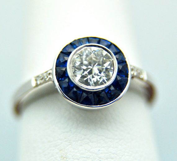 14k White Gold Art Deco Diamond and Sapphire by Appelblom on Etsy, $3800.00