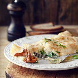 Omlet z kurkami i serem camembert