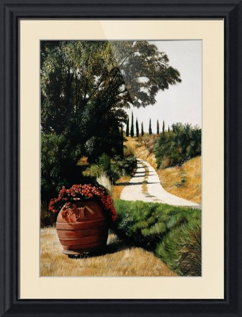 """""""Tuscan Summer Road"""" by Matthew Bates, Firenze, Italy // This original oil painting has been praised by many as one of Matthew Bates' best examples of Tuscan landscape. Now you too can Take a stroll down a Tuscan Summer Road...When you buy this or any other of my Imagekind(TM) prints, send them to me and I will personally sign the... // Imagekind.com -- Buy stunning fine art prints, framed prints and canvas prints directly from independent working artists and photographers."""