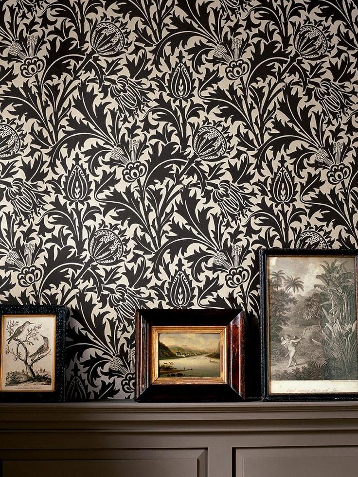 Morris & Co. Thistle Wallpaper, Mulberry / Linen