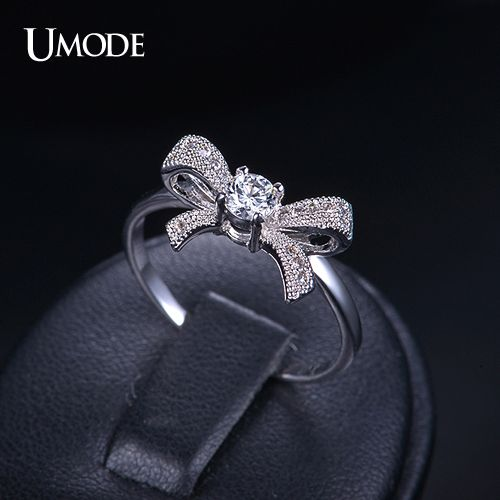 Bague Pour Femme Fashion White Gold Plated Bowknot Rings For Girl Gift Wholesale Cheap AAA+ CZ Jewelry Stores AUR0109