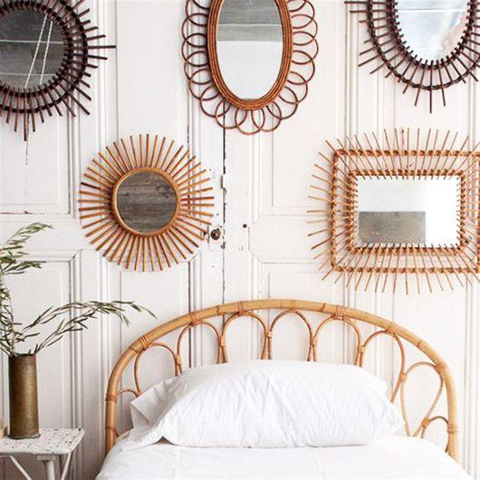 vintage rattan mirrors from @elsiegreenhh