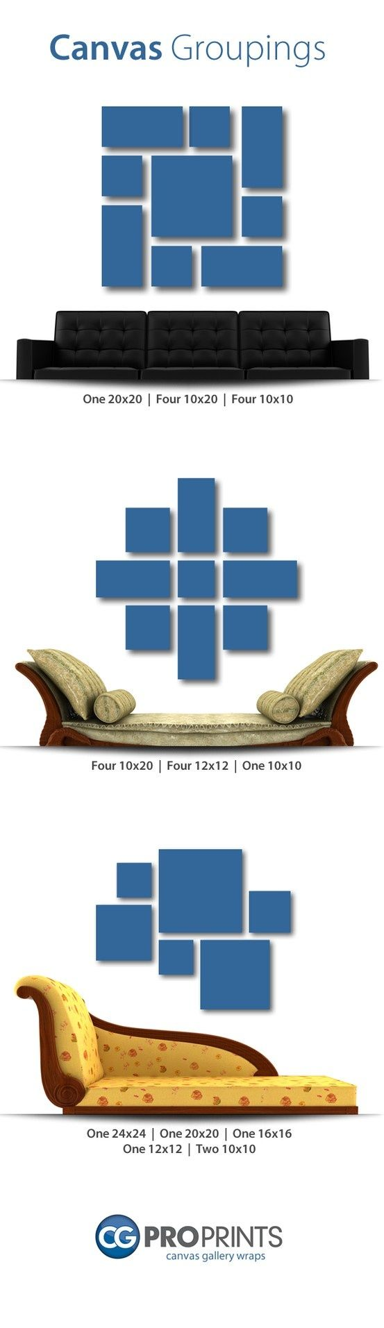 See what kind of canvas groupings go best with your room and furniture!