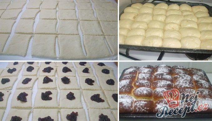 Pečené povidlové buchty posypané cukrem