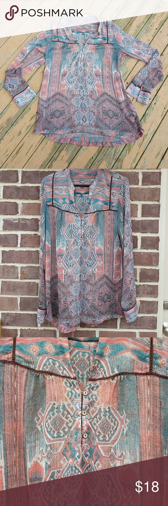 """Maurice's aztec top Lightweight and airy beautiful Aztec top  turquoise Blue and Mauve & peachy colors run vibrant. V neck style 100% polyester approximate 29"""" length,  25"""" sleeve, 20"""" pit to pit. Asymmetrical Maurices Tops Blouses"""