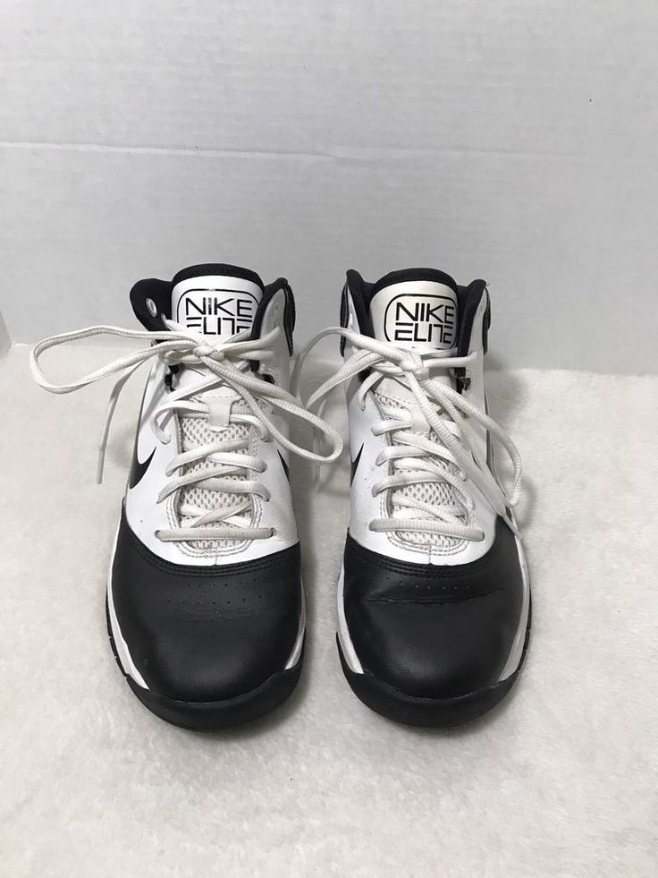 BOYS Nike Elite Youth Basketball Shoes 426524-102 Black and White Size 5  | eBay