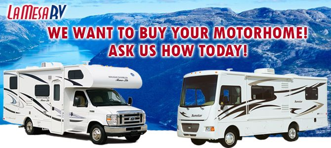 La Mesa RV are used RV pros! With over forty years' experience buying motorhomes, we make the entire selling process easy and convenient. Our main priority throughout all RV buying transactions is customer satisfaction. Our RV buyers are committed to giving you the best service and completely transparent, symbiotic process. From an accurate price estimate to a thorough inspection, we ensure the best price possible for your used RV motorhome.