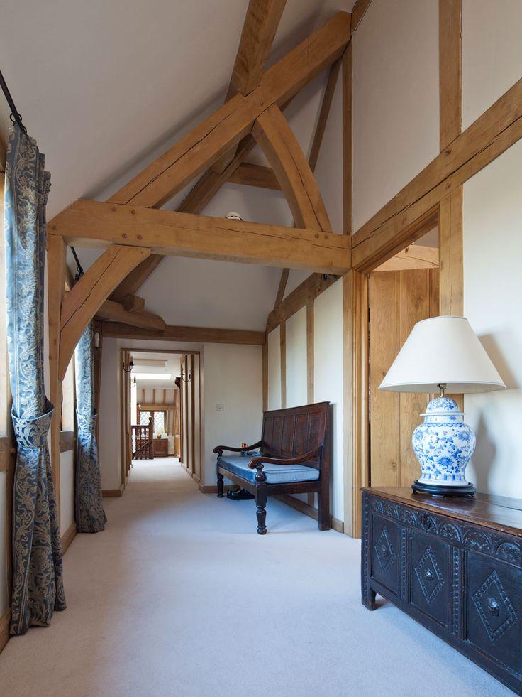 Oak hallway with plenty of light. #oak #hall #light #truss #home #house #wood #wooden #dream