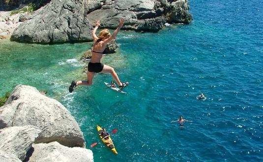 Sea kayaking and cliff jumping on Sipan Island, Croatia