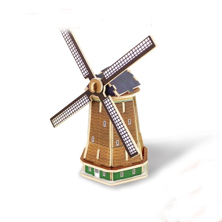 Best 3D Wooden Holland Windmill Puzzle Toys for sale at Oitems.com