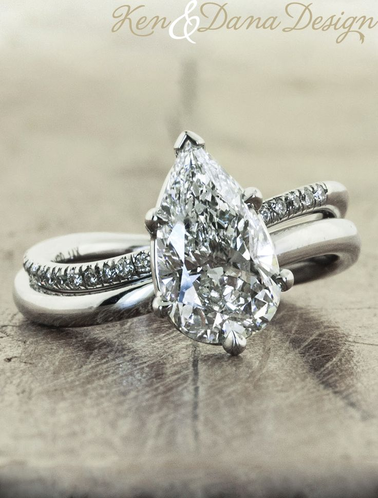 Pear shape engagement ring by Ken & Dana Design