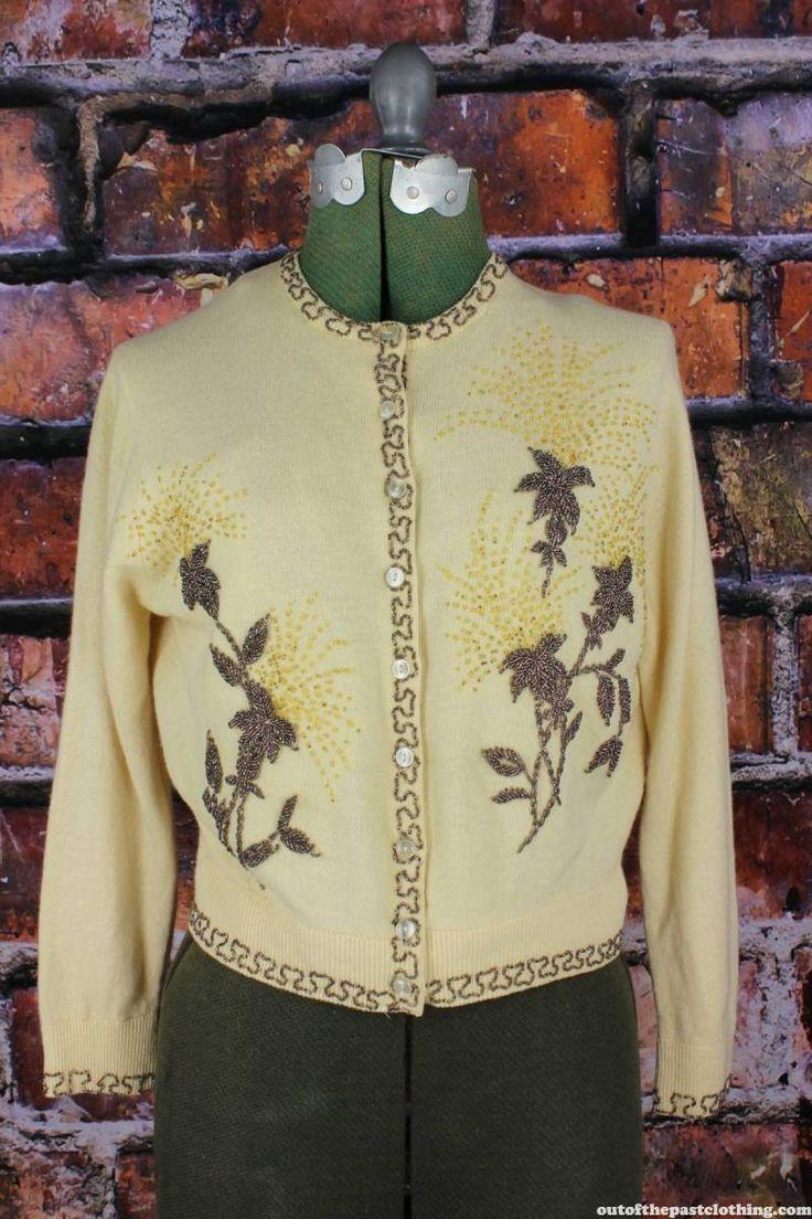 Vintage 1950s Angora Beaded Sweater