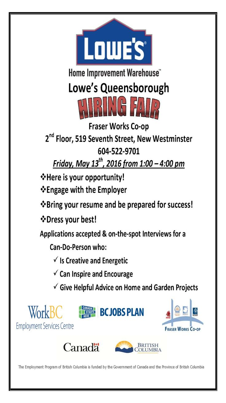 Yes, Lowe's in Queensborough are Hiring. There are more than 10 job openings and we are very keen to get you hired!! Visit Fraser Works on Friday 13th (your lucky day!!) at 1pm.
