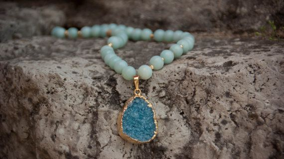 Mint Amazonite and Druzy Necklace via Etsy