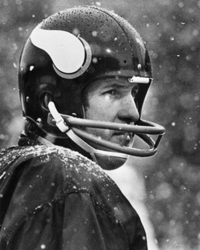 Legendary Quarterback for the Vikings, Fran Tarkenton.  He led the Vikings to three Super Bowls in the 1970s, but lost all of them.  In his 18 NFL seasons, Tarkenton completed 3,686 of 6,467 passes for 47,003 yards and 342 touchdowns, with 266 interceptions.  Tarkenton's 47,003 career passing yards rank him 6th all time, while his 342 career passing touchdowns ranks 4th all time in NFL history.