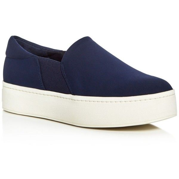 Vince Women's Warren Platform Slip On Sneakers (6 095 UAH) ❤ liked on Polyvore featuring shoes, sneakers, deep blue, platform sneakers, slip on trainers, platform slip on sneakers, platform slip-on sneakers and slip on shoes
