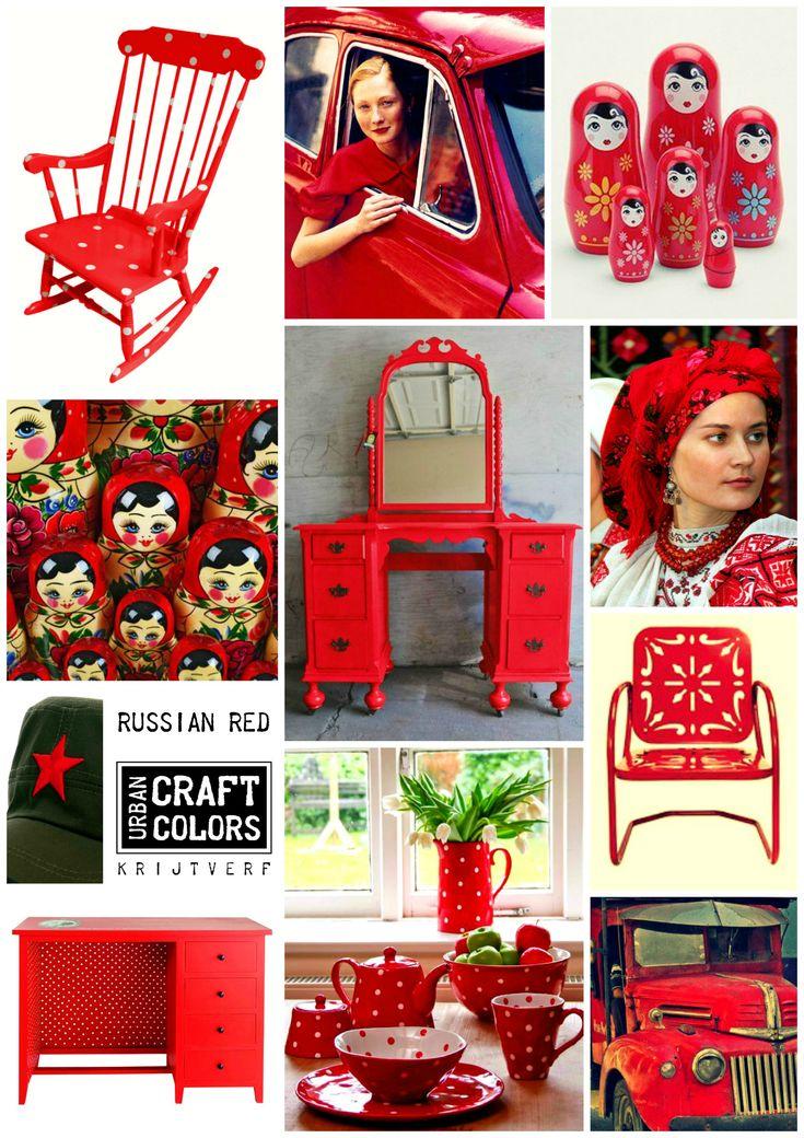 Urban Craft Colors Krijtverf  RUSSIAN RED... Een fel rode kleur, met een vleugje roze. Geïnspireerd op de Russische Matroesjka poppetjes en de Polkadots. www.facebook.com/urbancraftcolors