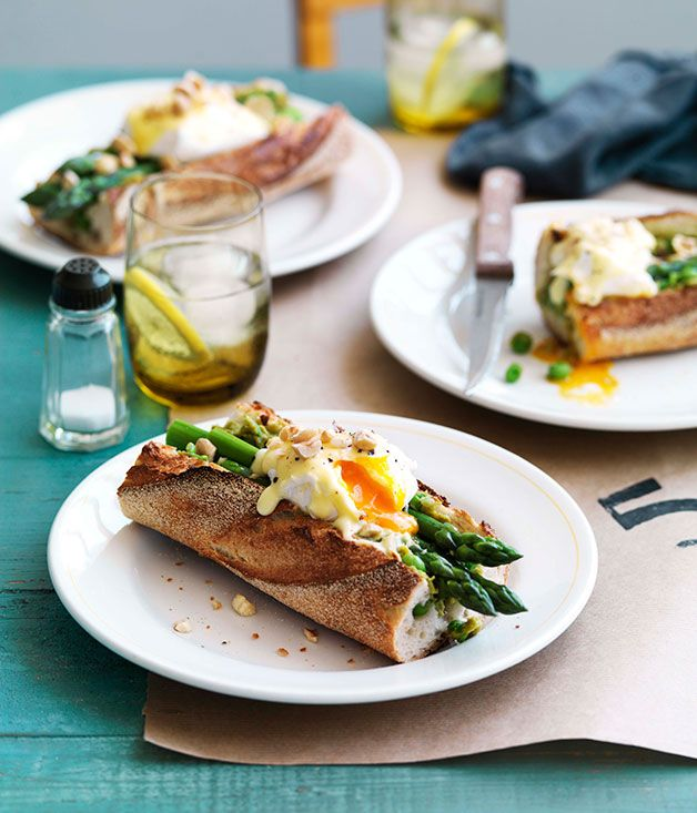 Australian Gourmet Traveller recipe for Asparagus, poached egg and Taleggio baguette from Earl Canteen, Melbourne