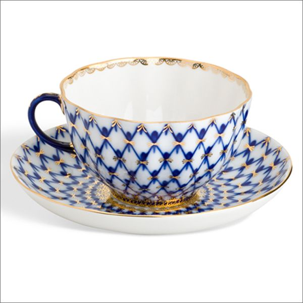 Lomonosov Porcelain from Russia made of mineral cobalt and 22 karat gold. Design inspired by Catherine the Great's china pattern.