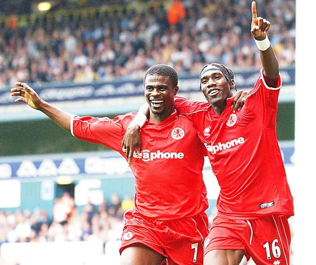 George Boateng and Joseph Job celebrate Boro's win at Spurs in 2002