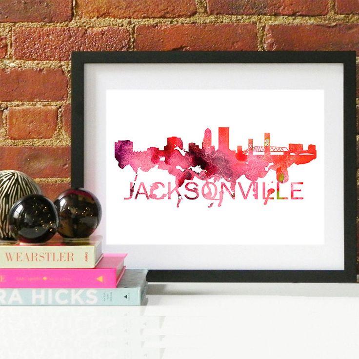 15.00$ - Jacksonville Florida Art, Jacksonville Florida Skyline, Jacksonville Florida map, Jacksonville Florida skyline, Jacksonville map print