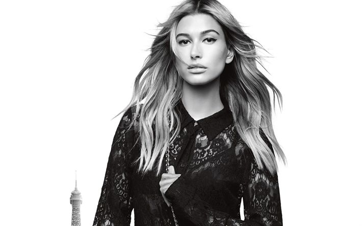 Download wallpapers Hailey Baldwin, monochrome portrait, black shirt, beautiful woman, American model