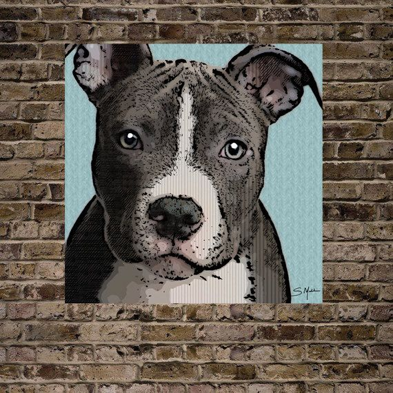 Pit Bull Print 16x20-(various printing and framing options available) Sizes, Options, and Pricing In Last Photo. $38.00, via Etsy.