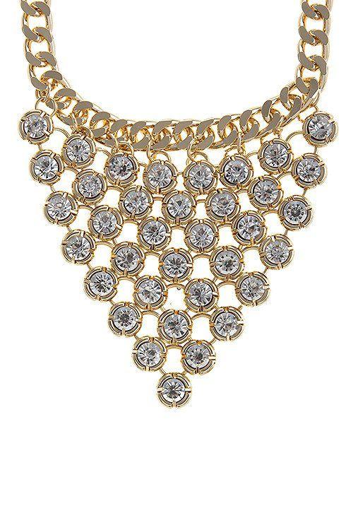 Crystal Linked Bib Necklace Set