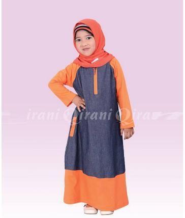 Beli Baju Dress Anak Gamis Qirani Kids QK-5  Orange Muda  dari Aprilia Wati agenbajumuslim - Sidoarjo hanya di Bukalapak