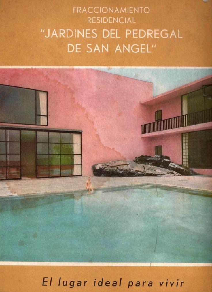 Publicidad de los Jardines del Pedregal, DF, México 1953, mostrando la piscina en casa Prieto López, Arq. Luis Barragán - Advertisement for the Gardens of Pedregal, Mexico CIty 1953