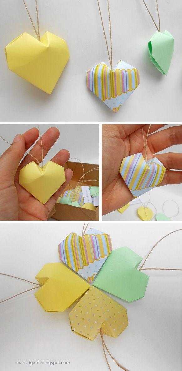 origami - Colgante de corazones de origami con volumen