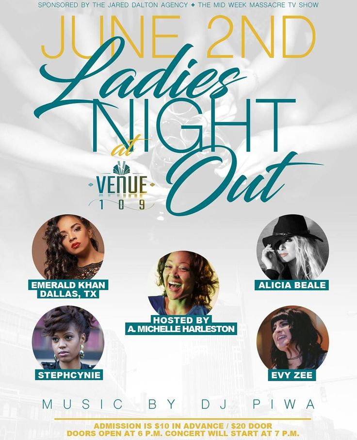 Don't worry guys I checked The Stanley Cup Finals schedule and this night is still open!!! Ladies Night Out at Venue 109!  Featuring the following acts: A very popular R&B/Soul, Jazz act @musicalemerald who is flying in from Dallas, TX. (www.reverbnation.com/emeraldkhan) .  An established Pop, R&B/Soul, Rock act in @aliciabeale (www.aliciabealemusic.com) .  The multi talented Soul, Folk, Jazz, Rock act in @stephcynie (www.stephcynie.com) .  And the up and coming alternative artist in…