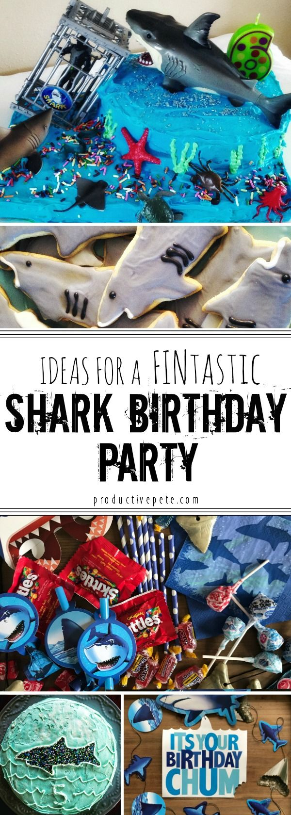 Looking for Shark Birthday Party ideas? Did your kiddo see Shark Week and is now obsessed with having a shark theme for their special day? Look at this Fintastic Shark Birthday with two shark birthday cake options, easy shark cookies & shark birthday party decorations too! #sharks #sharkbirthday #sharkparty
