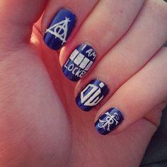 Harry Potter + Sherlock + Doctor Who + LOTR nail art