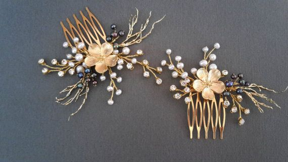 Gold pearl comb Set of wedding combs wedding pearl by ZTetyana