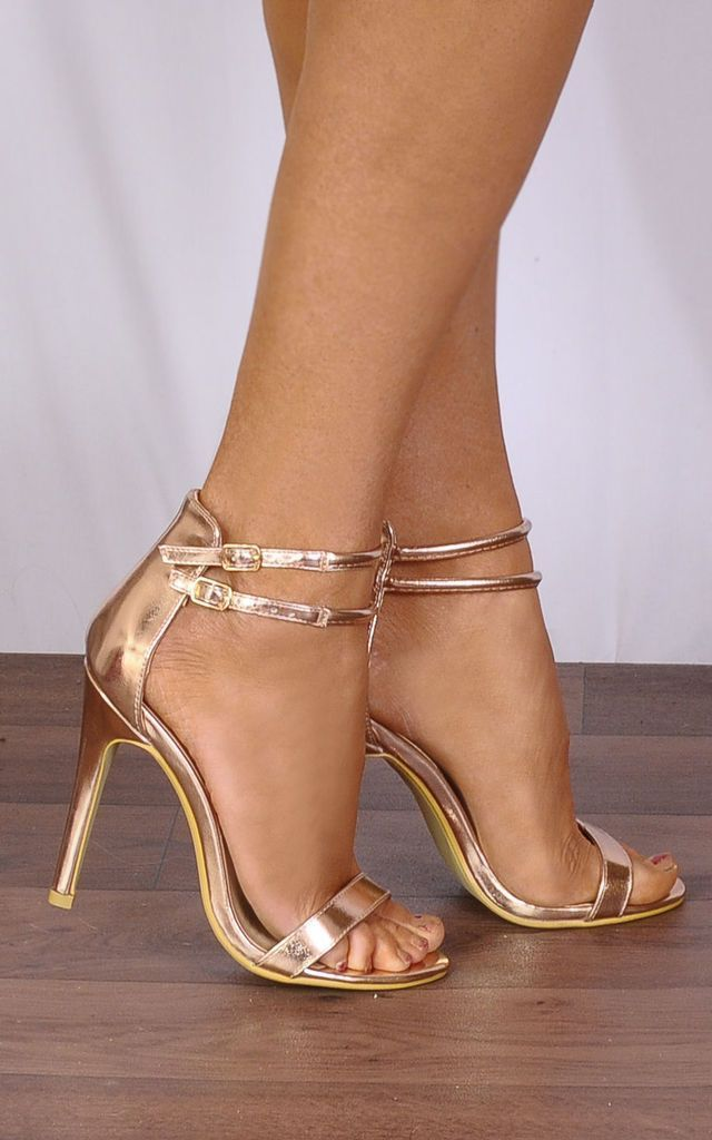 bca69de4e7e7 Rose Gold Metallic Barely There Peep Toes Strappy Sandals Stilettos High  Heels by Shoe Closet
